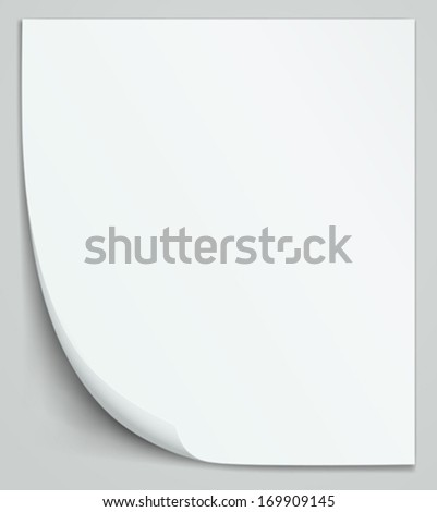 Blank white sheet of paper. Vertical notebook layout. - stock vector