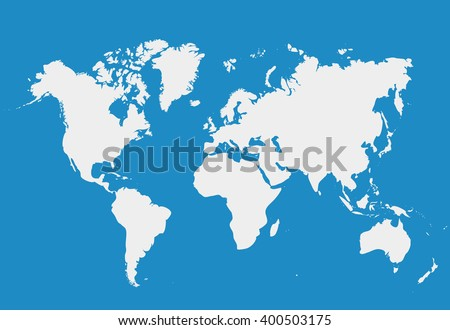 Blank White simillar World map isolated on blue background. Worldmap Vector template for website, design, cover, infographics. Flat Earth Graph illustration.   - stock vector