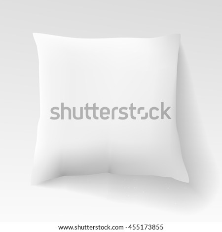Blank white square pillow with shadow. Cushion vector illustration isolated on light background. Sleep, relaxation, comfort concept. Realistic blank template for your design and business. - stock vector