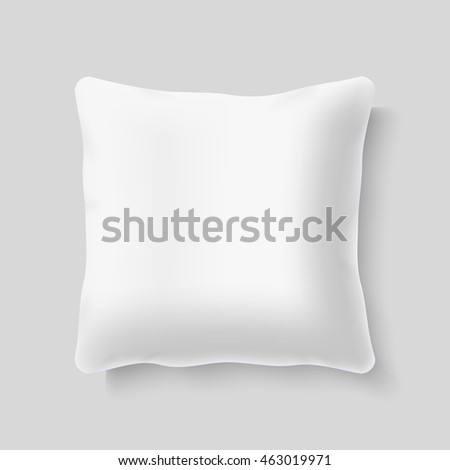 Blank white square realistic pillow cushion vector template