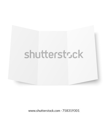 blank white trifold booklet opened on white background front side tri folded paper sheet