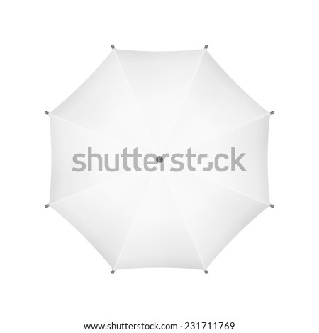 Blank White Umbrella. Top View. Vector. - stock vector