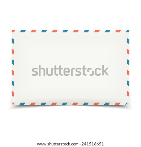 Blank white vector envelope isolated on white front view