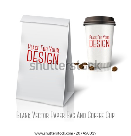 "Blank white vector realistic paper packaging bag and  paper coffee cup ""Coffee to go"" with coffee beans, with place for your design and branding. Isolated on white background with reflection. - stock vector"