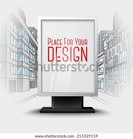Blank white vertical billboard on city scape blueprint, with place for your design and branding under the glass. Vector - stock vector