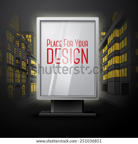 Blank white vertical billboard on night city scape blueprint, with place for your design and branding under the glass. Vector - stock vector