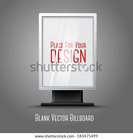 Blank white vertical billboard with place for your design and branding under the glass, isolated on grey background. Vector - stock vector