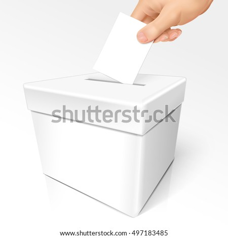 blank white vote box template isolated white background