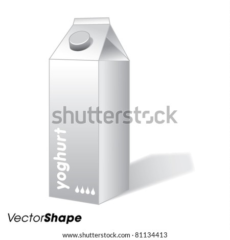 Blank white yogurt carton box, packaging concept, vector illustration