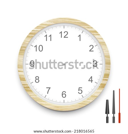 blank wooden clock face isolated on white - stock vector