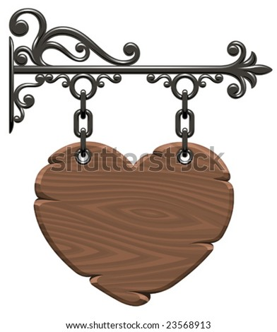 Blank wooden heart-form signboard (Vector) - stock vector