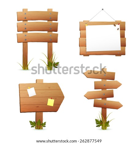 Blank wooden information signs and pointing arrows set isolated vector illustration - stock vector