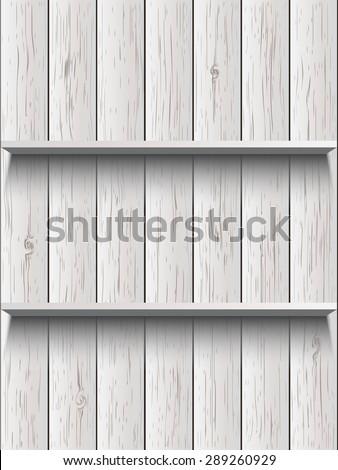 Blank wooden shelf - stock vector