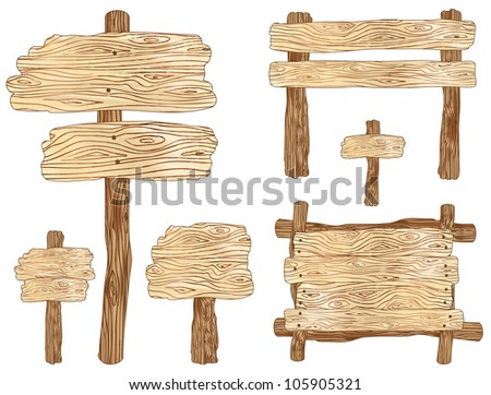 Blank wooden sign and notice board vector illustrations