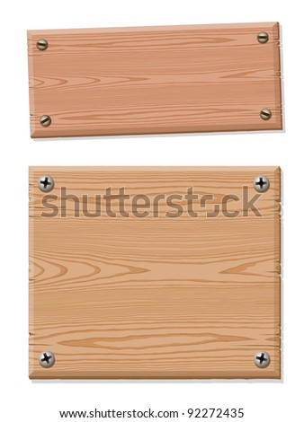 Blank wooden sign collection fixated with screws on white, texture and grain, illustration, EPS10 - stock vector