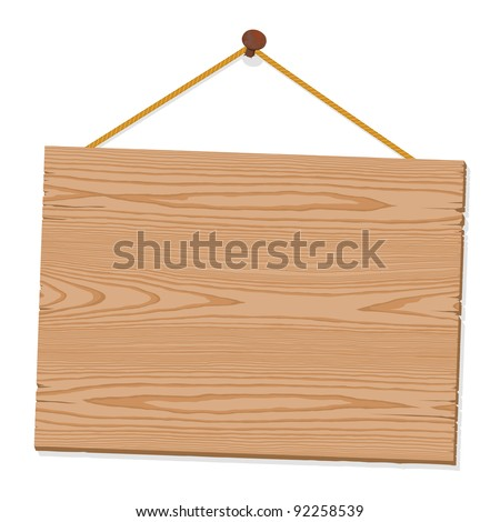 Blank wooden sign hanging from a nail by string on white, texture and grain, illustration, EPS8 - stock vector