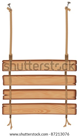 blank wooden sign hanging on a rope. isolated on white background - stock vector