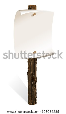 Blank wooden sign with paper wrapped - stock vector