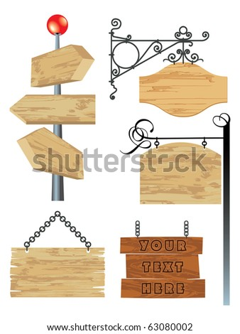 blank wooden signboard collection - stock vector
