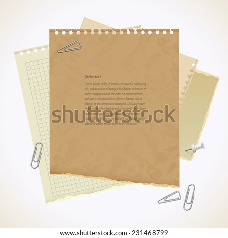 Blank worksheet exercise book. Old heavy paper with ragged edge. Vector illustration. Isolated on white background. Set - stock vector