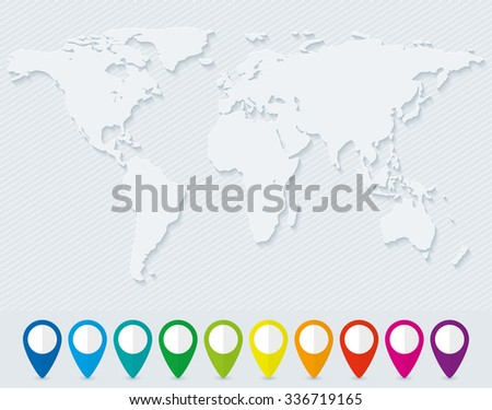 Blank world map and set of colorful map pointers - stock vector