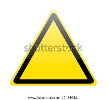 Blank yellow hazard warning sign on white - stock vector