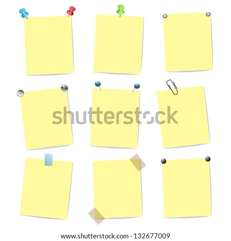 blank yellow note items with pins - stock vector