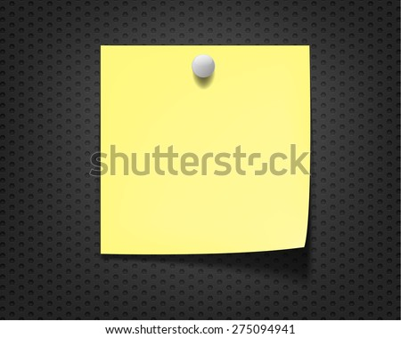 blank yellow note on  gray background - stock vector