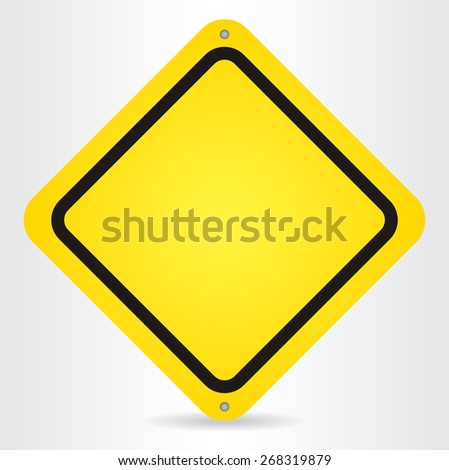 Blank Yellow Sign. Vector illustration.