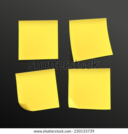 blank yellow sticky notes set over black background - stock vector