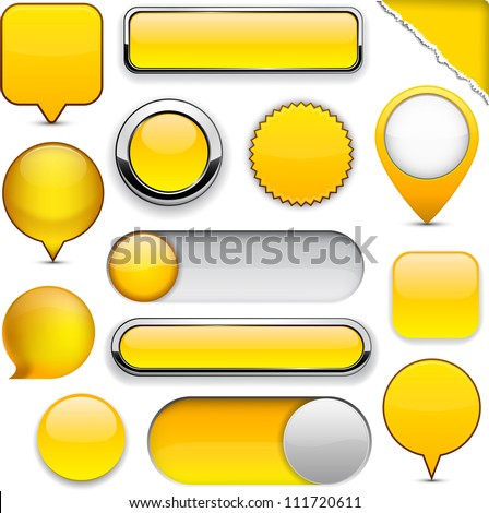 Blank yellow web buttons for website or app. Vector eps10. - stock vector