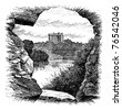 Blarney Castle, Blarney, Cork, Ireland, vintage engraving in 1890s. Old engraved illustration of Blarney Castle, County Cork, Ireland, 1890s. - stock vector