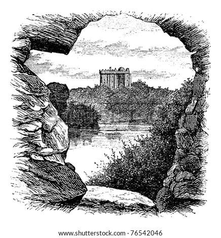 Blarney Castle, Blarney, Cork, Ireland, vintage engraving in 1890s. Old engraved illustration of Blarney Castle, County Cork, Ireland, 1890s. - stock vector