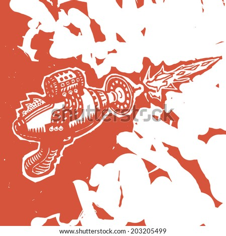Blaster toy gun drawing - stock vector