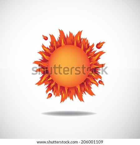 Blazing sun  EPS 10 vector, grouped for easy editing. No oen shapes or paths. - stock vector