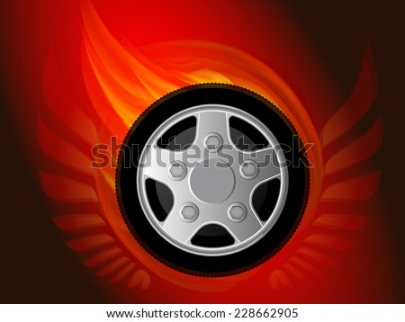 Blazing wheel with wings. Vector illustration. - stock vector