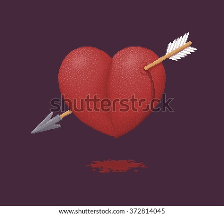 Bleeding Heart Pierced by an Arrow of Cupid - Vector Illustration in Pixel Art Classical Technique - stock vector