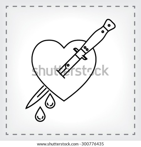 Bleeding Heart Stabbed by Daggers - Minimal Tattoo - stock vector