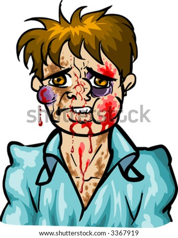 Bleeding man - stock vector
