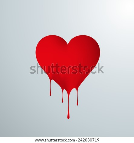 Bleeding passion love. Red melting heart with reflection and drops. - stock vector