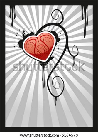 Bleeding vector heart - stock vector