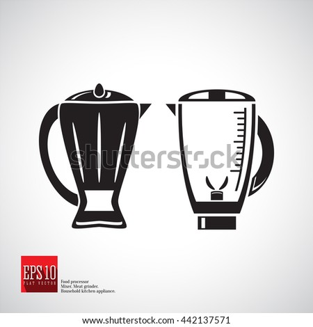 Blender in a jug with a handle, lid and measuring scale, blender for smoothies, fruit and food. Detailed flat icon kitchen appliance. Food blender icon silhouette, kitchen equipment, household mixer. - stock vector