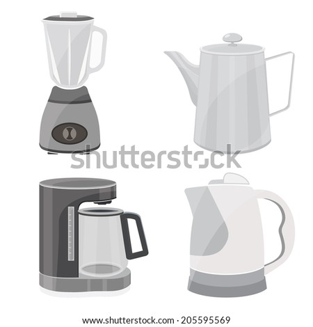 blender,teapot,Coffee Maker,Kitchen tool collection - stock vector