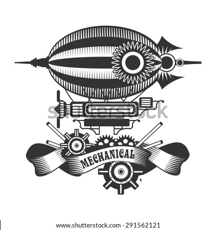 blimp style steam punk black and white badge on a white background - stock vector