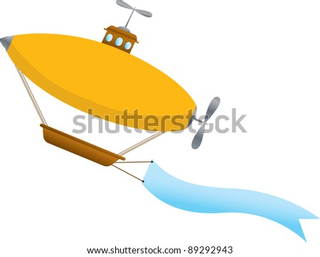 Blimp with blank wavy banner - stock vector