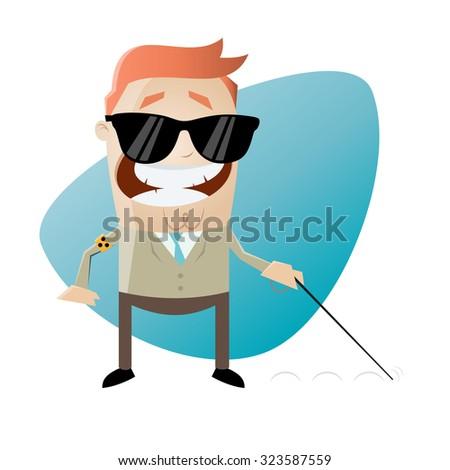 blind cartoon man - stock vector