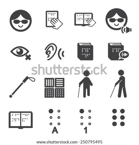 blind man icon - stock vector
