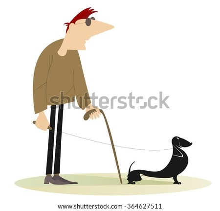 Blind man with a guide dog - stock vector