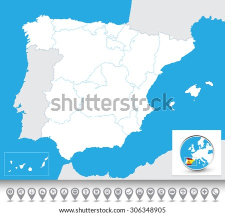 Blind map of Spain with navigational bubble icon set/Blind map of Spain. - stock vector