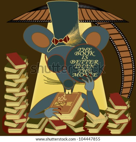 Blind mouse at a desk full of books, with a The Book Is Better Than the Movie message on its glasses - stock vector